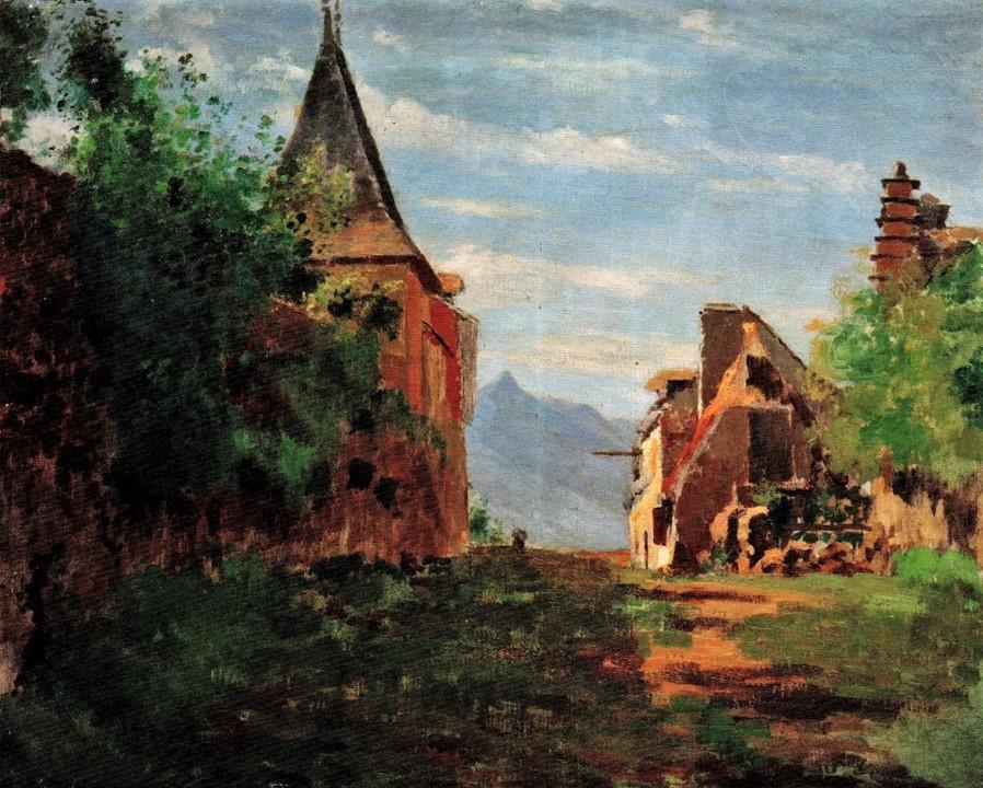 Henri Rouart, 18xx, S-, Landscape in the Pyrenees (Pays Basque?), 42x60, private (R92,no38;R2,p356). Compare: 6IE-1881-135, Saint-Jean-de-Luz.