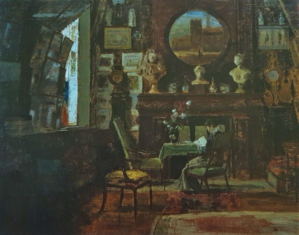 Henri Rouart, 1880-84ca, Salon-atelier at rue de Lisbonne, on wood, 69x90, MPP Paris (iR10;iR308;M4;cpR92,no28). Option for 8IE-1886-139, Intérieur.