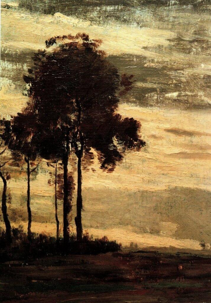 Henri Rouart, 18xx, Trees at dusk, on wood, 22x15, private (R92,no42;iR10). Compare: 8IE-1886-142, Étude + 5IE-1880-183, étude.
