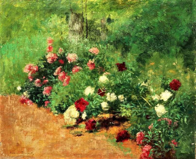 Henri Rouart, 1875ca, Sbl, Massif de fleurs, 51x61, private (aR6;R92,no29). Compare: 8IE-1886-143, Jarde de l'Évêché à Blois; (aquarelle).