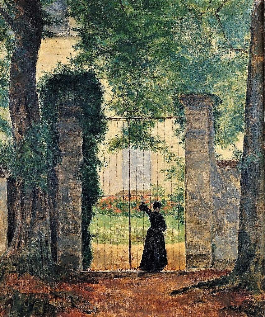 Henri Rouart, 1885, entrance at La Queue-en-Brie, 44x37, xx (aR28) or 1890, figure by a gate of a country house, 61x51, xx (aR18;aR20). Compare: 8IE-1886-145, Porte du château de Blois; (aquarelle).