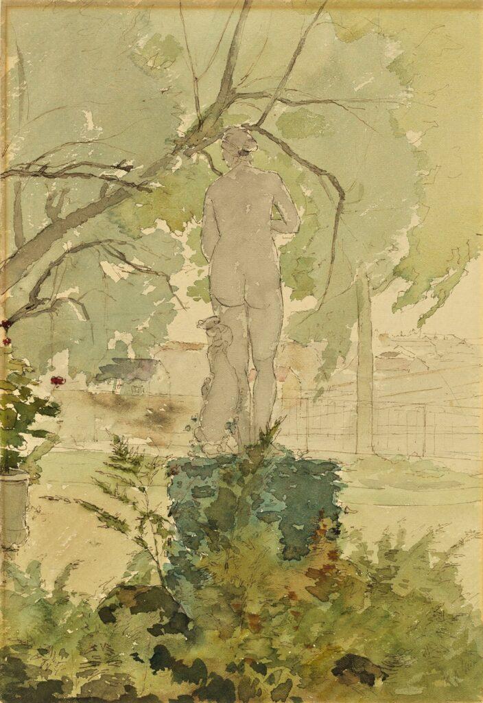 Henri Rouart, 1875-85ca, Garden view, wc, 25x18, AI Chicago (iR30;M20). Compare: 8IE-1886-149, Intérieur de parc; (aquarelle).
