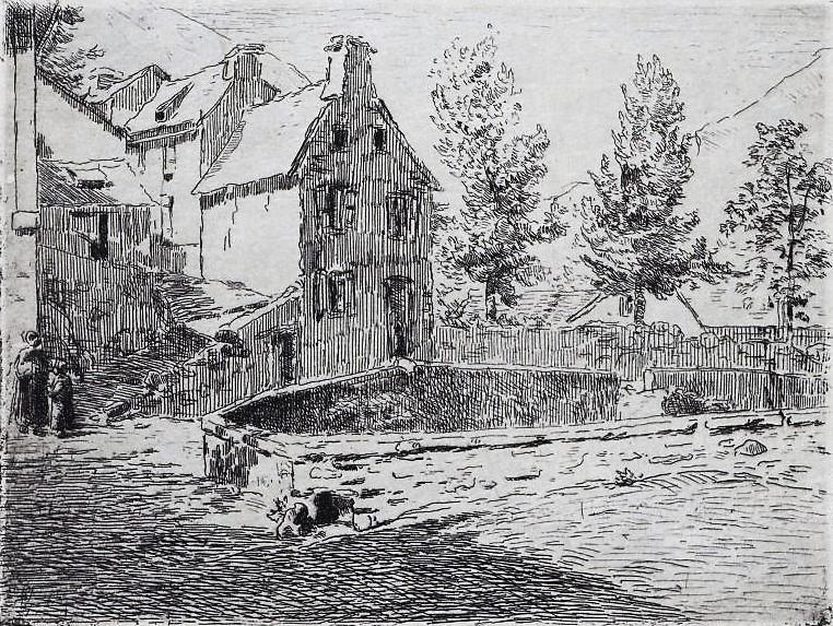 Henri Rouart, 18xx, xx (village, square, mountains), etch, xx, Nm Warsaw (aR20). Compare: 8IE-1886-152, Place de Jurançon; (aquarelle).