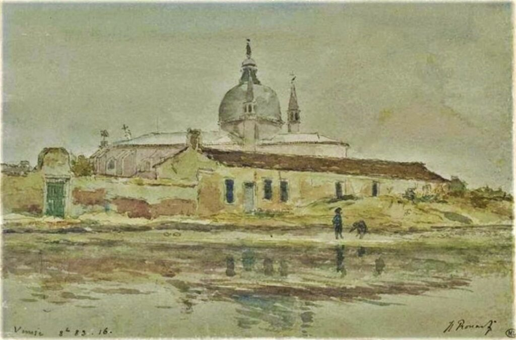 Henri Rouart, 1883, View of a church on an island in the Venetian lagoon, wc, 16x26, DAG Louvre (M5a;iR23;iR64). Maybe?: 8IE-1886-158, Derrière le Redemptore, Venise; (aquarelle).