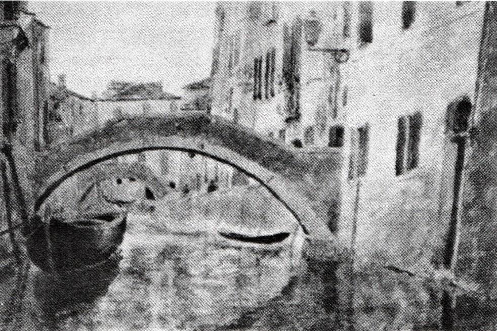 Henri Rouart, 18xx, Sbr, Pont St. Zanni et Paolo (Venise), wc, xx, private (R90II,p274). Probably: 8IE-1886-161, Pont St-Zanni et Paolo, Venise (aquarelle). Compare: 5IE-1880-185-192.