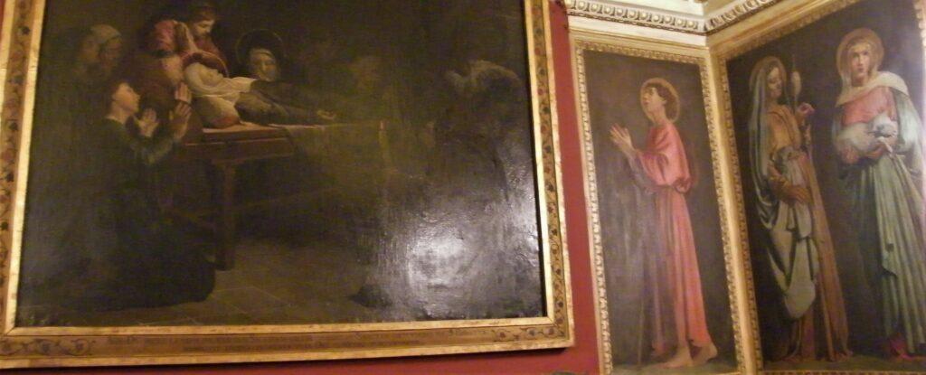 Edouard Brandon, S1865-2322, Ensemble de peintures murales; aquarelle; Exécutées pa l'auteur dans l'oratoire de Sainte-Brigitte, à Rome. Compare: Photo of room in the Brigittine convent (aR16;iR10;iR1;aR4). Compare: SNBA-1890-943, Fragment des cartons de la vie de Sainte Brigitte (dessin); Appartient à l'oratoire de Sainte-Brigitte à Rome + HD1897/12/13-44+46+60, La Mort de sainte Brigitte.