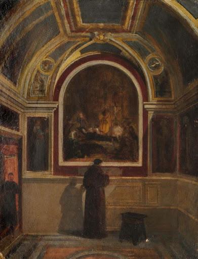 Edouard Brandon, S1864-2059, Vue de la partie orientale de l'oratoire de Sainte-Brigitte, à Rome, avec les peintures murales exécutées par l'auteur en 1862; aquarelle. Compare: 1856-63 (18xx), La sacristie de l'église Sainte Brigitte de Suède, Rome, xx, Axx (iR10;iR100;iR13). Compare: HD1897/12/13-61, Oratoire de Sainte-Brigitte and: 44+46+60, La Mort de sainte Brigitte.