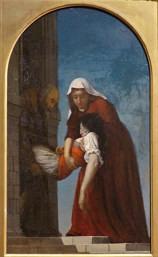 Edouard Brandon, S1864-244, La charité de sainte Brigitte. Probably: 1864, The Charity of Saint Brigitte, xx, Calvet Avignon (iR6;aR10;iR1;M172)