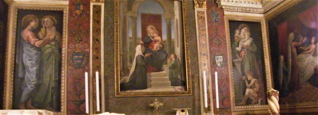 Edouard Brandon, SNBA-1890-952, Ensemble décoratif; oratoire de Sainte-Brigitte à Rome, place Farnèse (aquarelle). Compare: Photo of a chapel in the Brigittine convent (aR16;iR10;iR1;aR4). Compare: HD1897/12/13-45, Le Miracle de sainte Brigitte + 48, La Supplique de sainte Brigitte.
