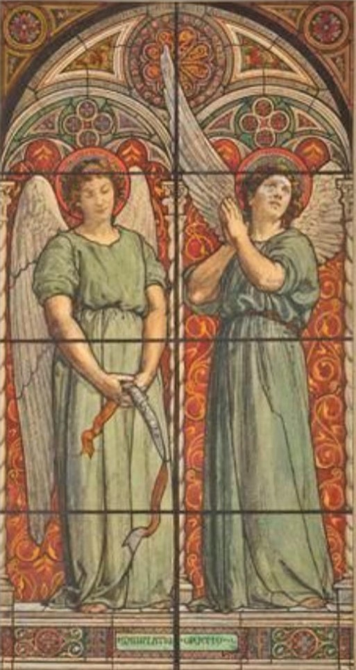 Edouard Brandon, S1867- 1658, La prière et la méditation; carton de vitrail, aquarelle. Compare: 1858, Projet de vitrail pour l'Oratoire de Sainte Brigitte de Rome, gouache, 41x21, Axx (iR87;iR10;iR1;aR4). Compare: SNBA-1890-952, Ensemble décoratif; oratoire de Sainte-Brigitte à Rome, place Farnèse (aquarelle).