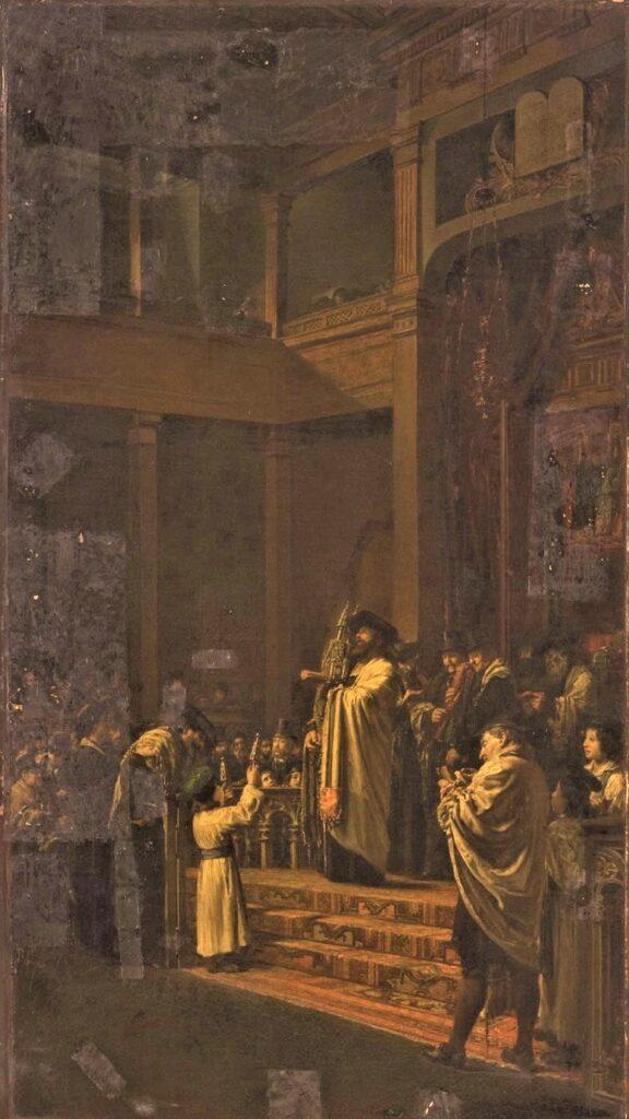 Edouard Brandon, 1IE-1874-29, Première Lecture de la Loi. Probably: 1868-69, Scene in a Synagogue, 156x88, Philadelphia MA (iR6;iR1;iR3;iR26;M28;aR10;R87,p232;R2,p199;R90II,p5+20) = S1869-319, La sortie de la loi le jour de sabbat.