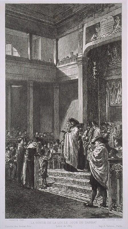 Edouard Brandon, S1869-319, La sortie de la loi le jour de sabbat. Compare: 1869, etch after exhibited painting, 24x13, Temple de la Rue Buffault, BNF Paris (aR10;iR1;iR26;R87,p232)