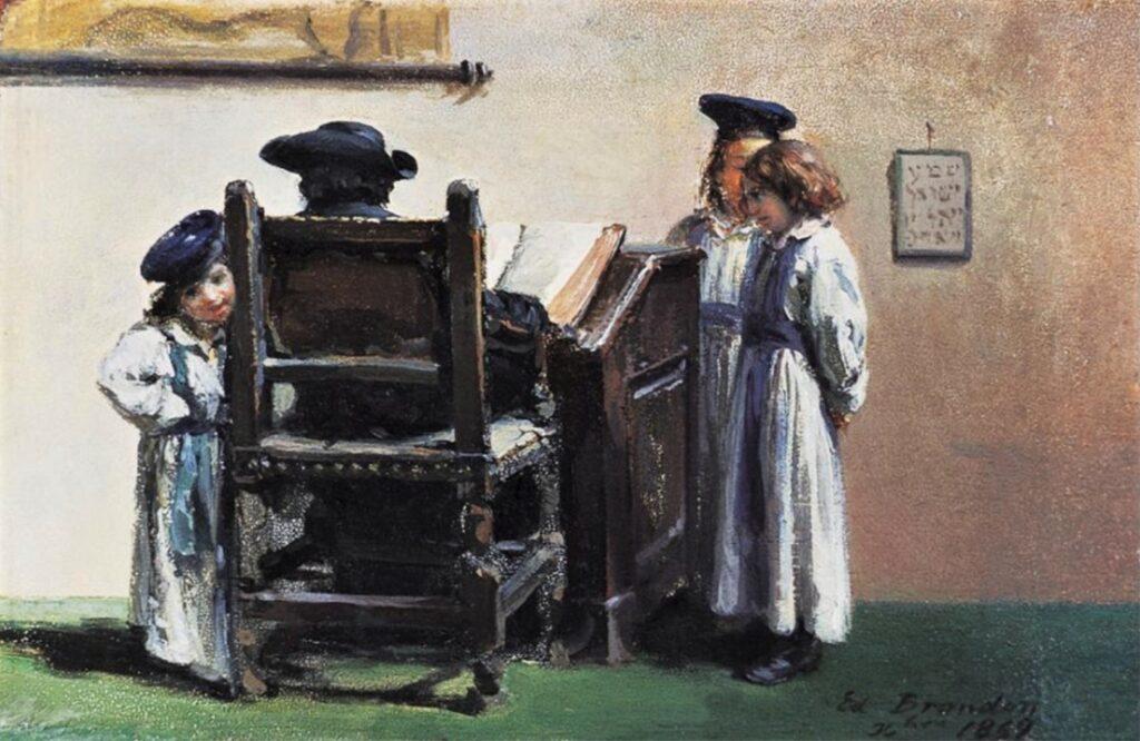 Edouard Brandon, S1869-320 La leçon de Talmud. Probably: 1869, The Talmud lesson, on panel, 10x15, A2003/04/24 (iR14;iR13;R88I,p79;iR1;R2,p119). Compare: 1IE-1874-32bis, Le maître d'école.