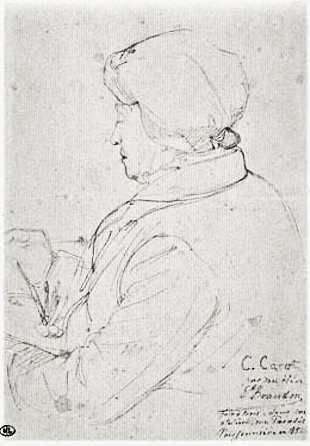 Edouard Brandon, 1851, C. Corot in his studio, Rue Paradis Poissonnière, dr, 17x12, DAG Louvre (iR23;M5a)