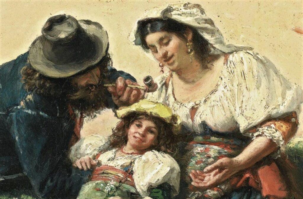 Edouard Brandon, HD1897/12/13-39, Souvenir d'Italie. Maybe??: 1856-63 (18xx), The Italian Family (detail), 28x22, A2008/04/18 (iR14;iR13;aR4)