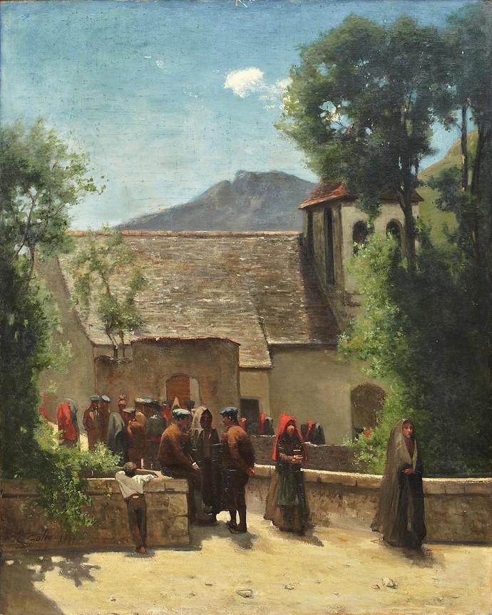 Gustave Colin, 1859, Village scene (leaving church), 131x105, A2013/04/09 (iR10;iR12;iR13;iR46) Probably: S1859-665, La sortie de la messe à Gèdre (Hautes-Pyrénées).