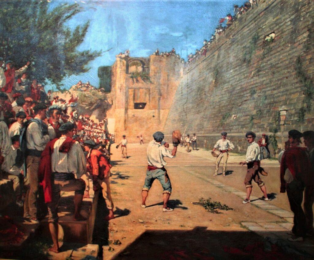 Gustave Colin, 1863, A Game of Pelota under the Walls of Hondarribia (Fontarabie), 156x192, MBM Bayonne (iR3;iR4;iR35;iR23;aR18) = SdR1863-hc, Joueurs de Pelote.
