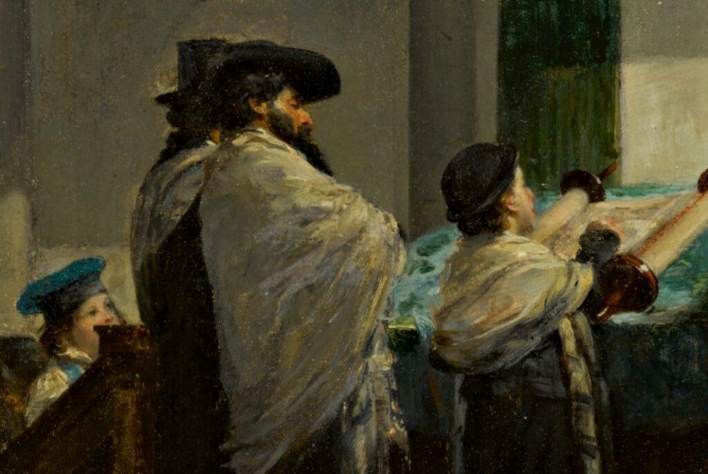 Edouard Brandon, 1IE-1874-29, Première Lecture de la Loi. Compare: 1865, Bar Mitzvah (detail), on panel, 35x45, A2019/11/20 (iR14;iR6;iR1;R2,p119). Compare: SNBA-1890-126, Baar-Mitzwa (l'examen).