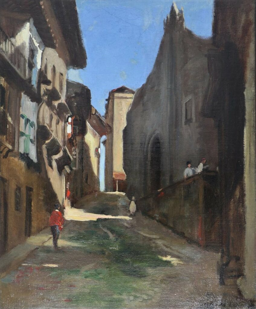 Gustave Colin, 18xx, Alley at Fontarabie, 46x38, Gallery Bruxelles (aR4;iR10) Former collection Hazard. Maybe?: S1868-555, Une rue à Fontarabie (Espagne)