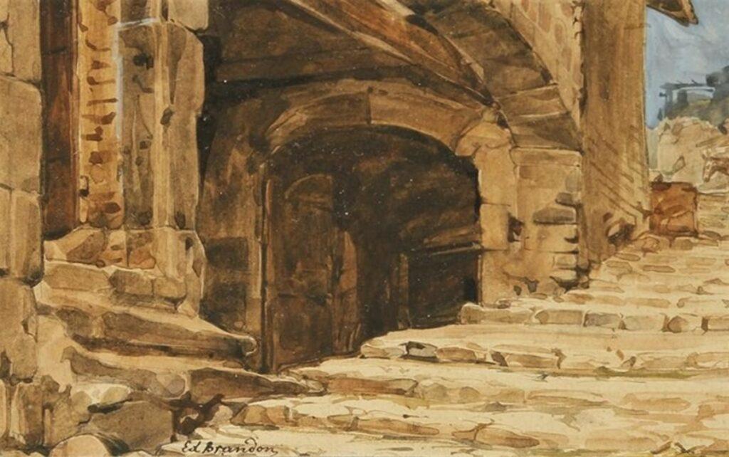 Edouard Brandon, 1IE-1874-31-3, Aquarelles. Maybe??: 18xx, Rue à Alevasco, wc, 11x18, A2013/11/07 (iR13;iR1;R2,p119). Maybe also: S1870-3144, Quinze aquarelles; même numéro: Souvenirs d'Italie + HD1897/12/13-66, Escalier dans une ruelle à Rome (Aquarelle).
