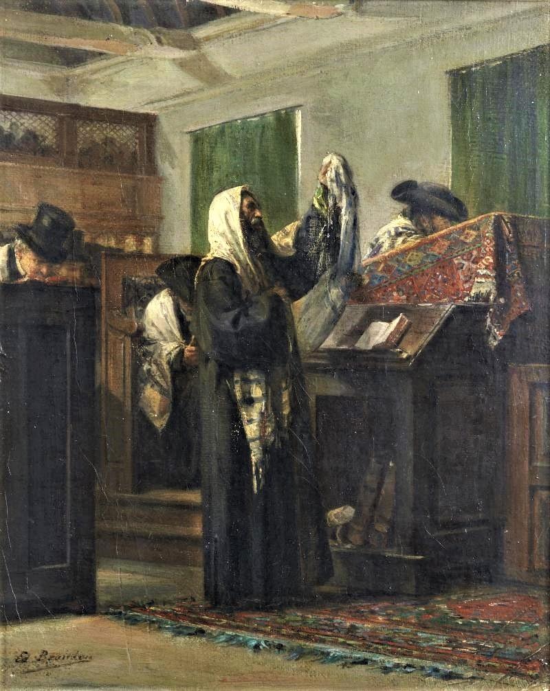 Edouard Brandon, S1866-254 + S1873-174, Le Sabbat. Maybe?: 18xx, Shema Yisrael, 27x22, A2014/06/25 (iR11;iR41;iR13;iR6;iR1;aR4). Compare: HD1897/12/13-13, Autre intérieur de la Synagogue à Rouen.