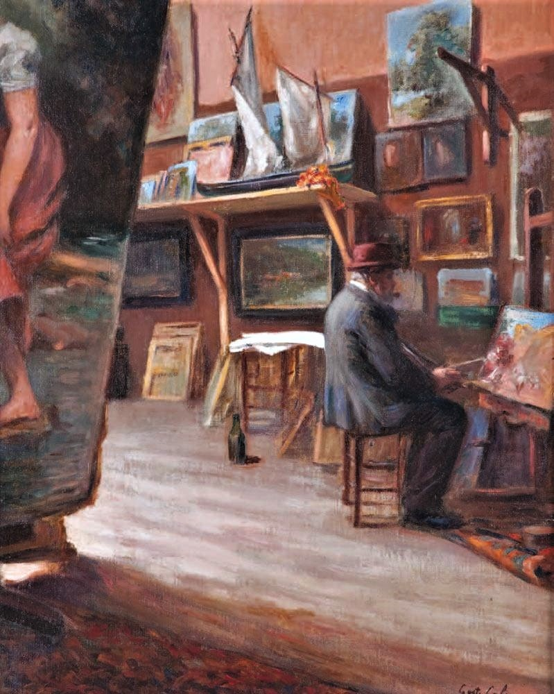 Gustave Colin, 18xx, The painter in his studio, 64x53, A2010/10/17 (iR11;iR4;iR13;iR43). Note: Colin is painting a smaller version of his Pelote players, compare SdR1863-hc.