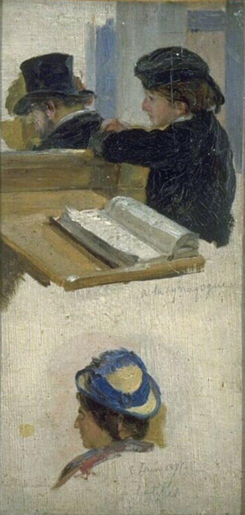 Edouard Brandon, HD1897/12/13-29, Plusieurs études: Rabbins et Fideles , etc. Maybe?: 1875, At the Synagoge (Study with 3 heads), 27x14, MAHJ Paris (aR10;aR4)
