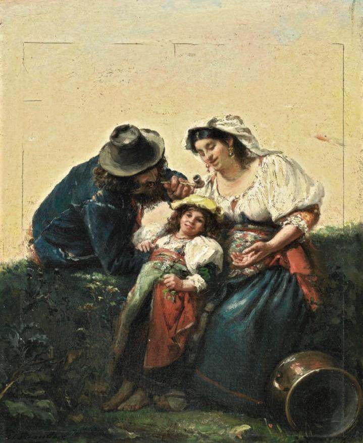 Edouard Brandon, HD1897/12/13-39, Souvenir d'Italie. Maybe??: 1856-63 (18xx), The Italian Family, 28x22, A2008/04/18 (iR14;iR13;aR4)