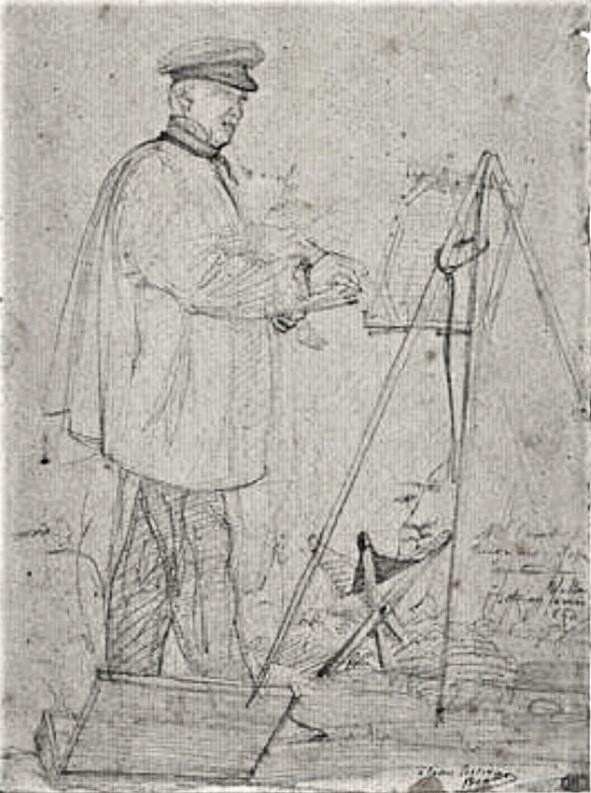 Edouard Brandon, HD1897/12/13-82, Portrait de Corot à la Justice; Ville d'Avray. (Croquis). Compare: 18xx, Mr. Corot peignant d'après nature ville d'Avray, dr, 18x13, Louvre (iR23;M5;aR4)