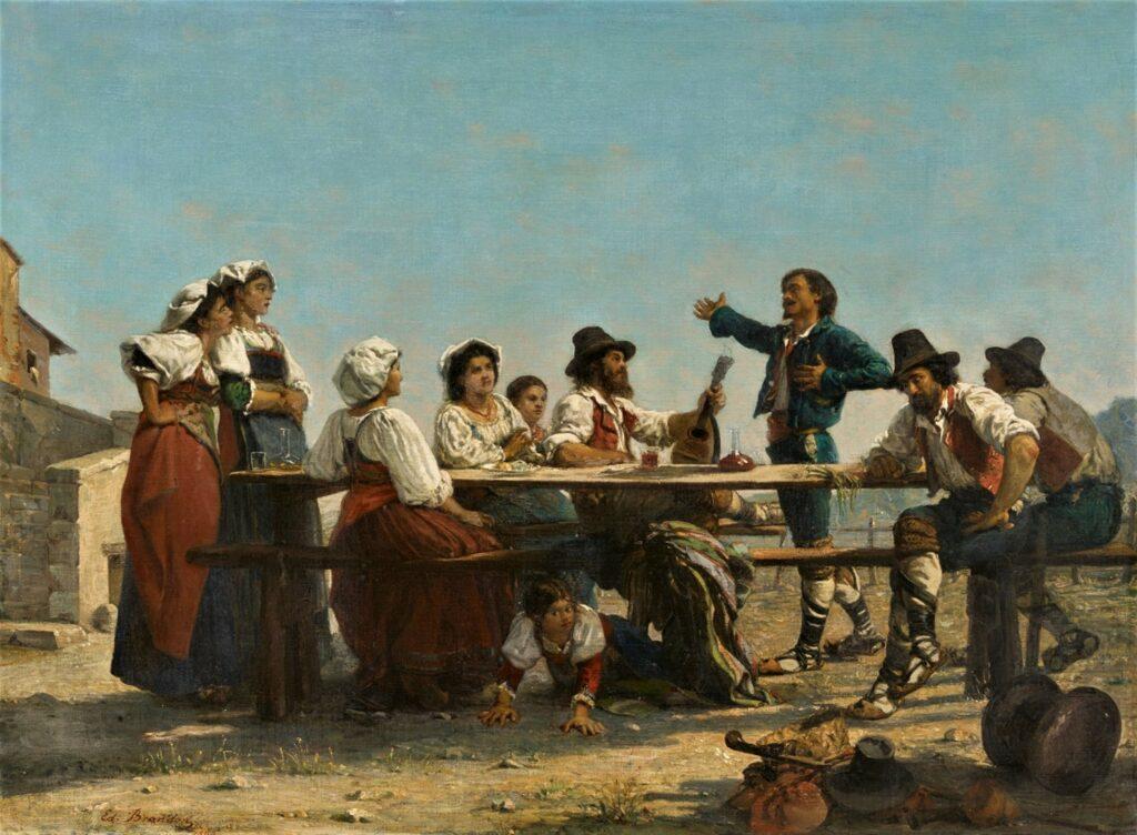 Edouard Brandon, Lille-1866-190, L'Improvisatore (campagne de Rome). Compare: 18??, Singer outside an Italian Tavern, 53x72, A2018/09/19 (iR11;iR23;aR5;iR1;aR4)