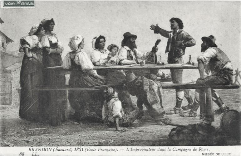 Edouard Brandon, Lille-1866-190, L'Improvisatore (campagne de Rome). Compare: 18??, L'improvisateur dans la Campagne de Rome, postcard after MBA Lille, 9x14, MAHJ Paris (aR10;iR23;iR11;iR1;M17). Note: the slight difference.