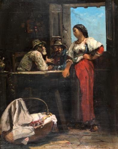 Edouard Brandon, S1861-406, Le jeu de la passatella =? Lille-1866-189, Le jeu de Passatella (cabaret romain au Transtevère). Compare: 1866, Woman and two men at the tavern (around a table), 45x37, A2010/07/08 (iR11;iR13;iR1).