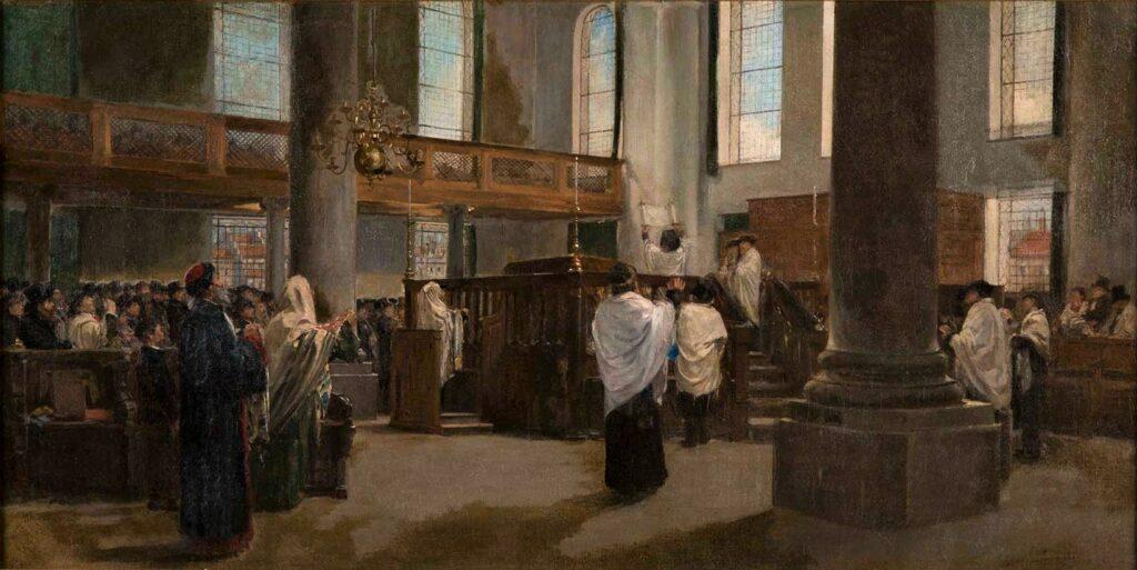Edouard Brandon, SNBA-1890-118, L'Elevation de la Loi (Pentateuque). Maybe: 18xx, The Raising of the Law in the Portuguese Synagogue of Amsterdam, 42x88, Spertus Chicago (aR11;iR1;aR4). Maybe: HD1897/12/13-7, Le Lever de la loi; Amsterdam.