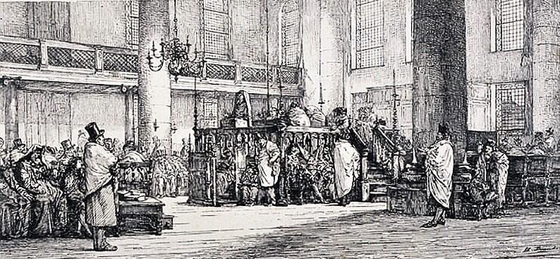 Edouard Brandon, S1867-203, Le sermon du Daïan Cardozo; synagogue d'Amsterdam, le 22 juillet 1866. Compare: Durand, 1867/08/02, Le sermon de Daïan Cardozo, etch, 14x30, Gazette des Beaux-Arts, now at MAHJ Paris (aR10;M5;M24;iR1)