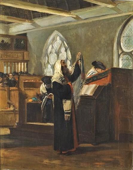 Edouard Brandon, S1866-254 + S1873-174, Le Sabbat. Maybe?: 18??, Shema Israel (Prayer in the Synagogue) 66x52, A2008/11/30 (iR11;iR41;iR13;iR1;aR4). Compare: HD1897/12/13-12, Intérieur de la Synagogue à Rouen.