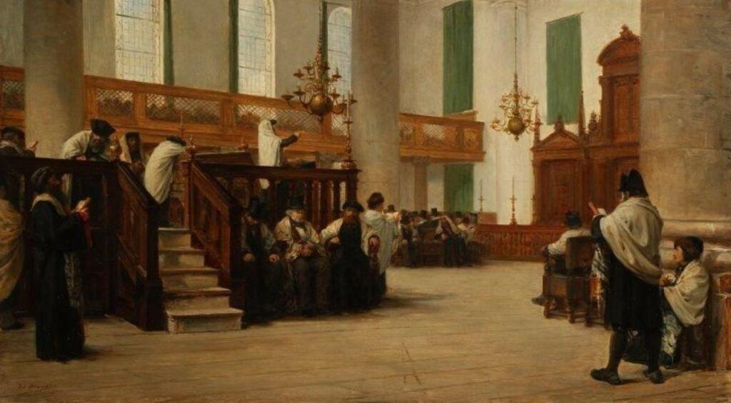 """Edouard Brandon, SNBA-1897-175, """"Dieu est un"""", Service du sabbat matin à la synagogue du rite portugais. Maybe?: 1880, La prière de Kippour dans la synagogue Portugaise d'Amsterdam, on panel, 31x55, A2015/06/33 (iR85;iR10;iR13;iR41;iR1;aR4). Compare: SNBA-1897-173, Lecture de Spinoza """"Dieu est un""""."""