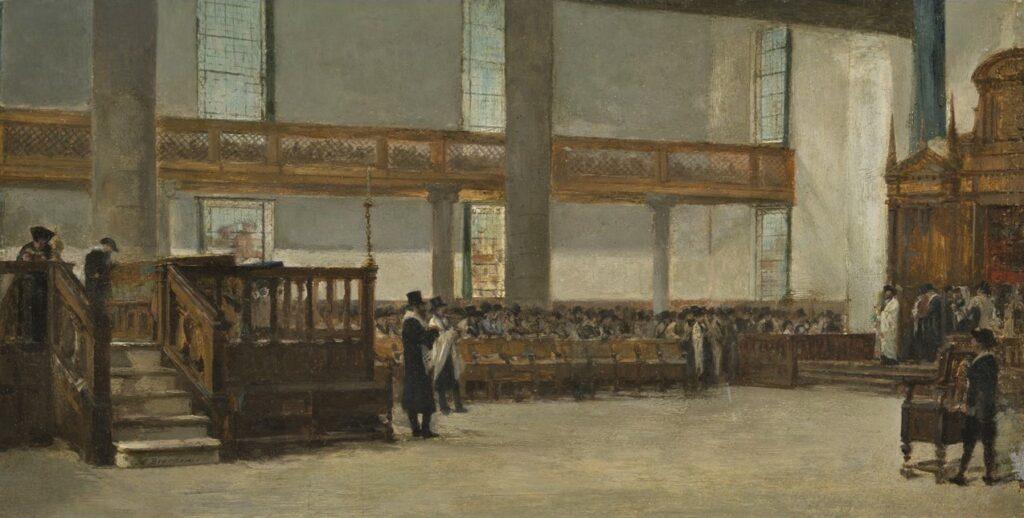 Edouard Brandon, SNBA-1890-123 + HD1897/12/13-6, Le Sabbat à Amsterdam. Maybe?: 1866-97, Interior of the Portuguese Synagogue of Amsterdam, on panel, 21x40, JM New York (aR12;iR10;iR1;aR4). Maybe?: HD1897/12/13-6, La Synagogue portugaise d'Amsterdam.